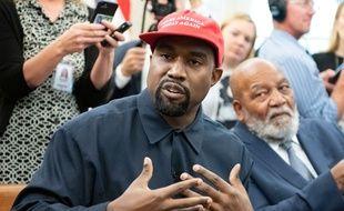 Le rappeur Kanye West lors de sa visite à la Maison Blanche en 2018
