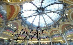 Le logo des Galeries Lafayette à Paris.