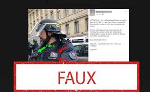 Cet homme n'appartient pas à « une milice européenne » appelée « EuroGendFor ». C'est un CRS photographié en mai.