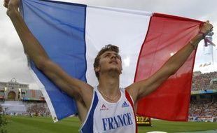 Le sprinteur français Christophe Lemaitre, lors de sa victoire aux championnats d'Europe de Barcelone sur 200m, le 30 juillet 2010.