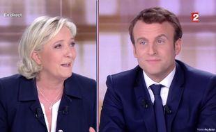 Marine Le Pen et Emmanuel Macron lors du débat présidentiel du 3 mai 2017.