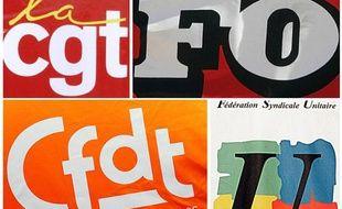 Les logos de quatre des principaux syndicats dans la fonction publique