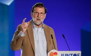 Mariano Rajoy, pendant son discours à Barcelone, le 12 novembre 2017. AFP PHOTO / Pau Barrena