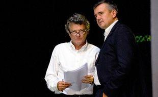 Jean-Louis Borloo et Yves Jégo, le 14 septembre 2013,  à Chasseneuil-du-Poitou (Poitou-Charentes).