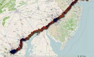Une carte générée par l'application iPhone tracker.
