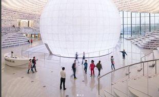 La société MVRDV a construit cette bibliothèque géante en trois ans.