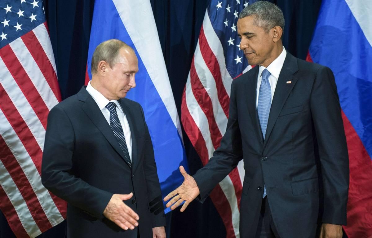 Barack Obama et Vladimir Poutine se sont rencontrés au Nations Unies lundi 28 septembre 2015.  –  Mikhail Klimentyev/AP/SIPA