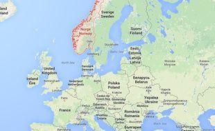 Google map de la Norvège.