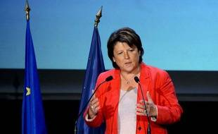 Martine Aubry s'est esprimée devant ses partisans au gymnase Japy, à Paris, le jeudi 6 octobre 2011.