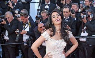 L'actrice de Bolywood Mallika Sherawat lors du Festival de Cannes 2017.