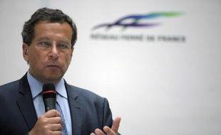 Le président de Réseau Ferré de France (RFF) Jacques Rapoport lors d'une conférence de presse à Paris le 7 juillet 2014