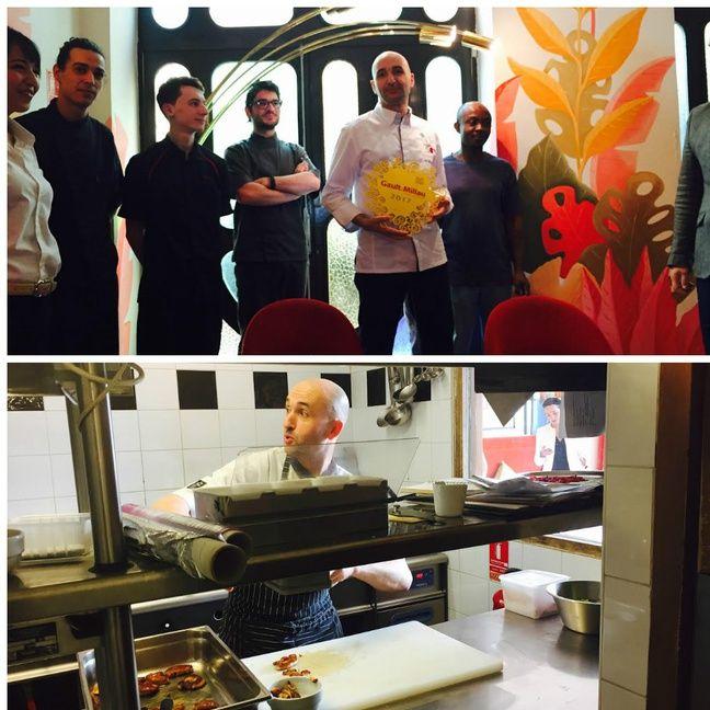 Le chef marseillais avec son équipe et en cuisine.
