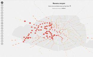 La carte Dataparis donne des informations sur les Parisiens en fonction des stations de métro.