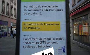 Une des fausses affiches annonçant l'annulation de l'ouverture du magasin Primark. .  Capture d'écran de la page Facebook La Coopérative Sociale, Écologique et Citoyenne. Strasbourg le 22 février 2020.