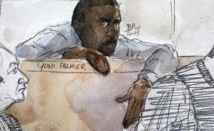 Croquis de Yoni Palmier le 31 mars 2015 au premier jour de son procès au tribunal d'Evry