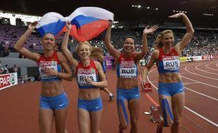 Les athlètes russes du relais 4 fois 100m, médaillées de bronze à Zurich lors des championnats d'Europe.
