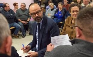 Le Premier ministre Edouard Philippe s'est rendu dans le petit village de Lenax, dans l'Allier, le 31 janvier 2019, dans le cadre du grand débat national.