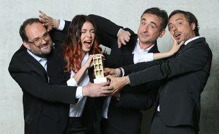 Stéphane Rose, Emilie Arthapignet, Frede Royer et Jerôme de Verdière, les trublions de l'édition 2017 de la cérémonie des Gérard de la télévision.
