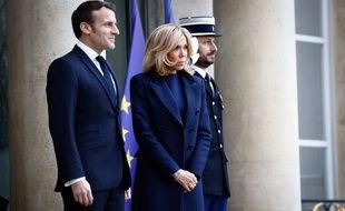 Emmanuel et Brigitte Macron, le 10 janvier 2020 à l'Élysée.