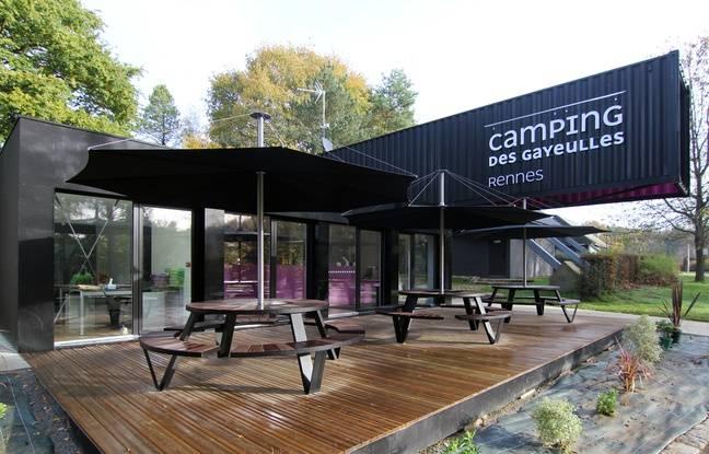 L'accueil du camping des Gayeulles à Rennes, où des containers ont été installés.