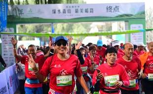 Le départ du marathon de Shenyang, en Chine, le 14 novembre 2018.