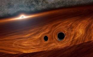 Vue d'artiste d'un trou noir supermassif.
