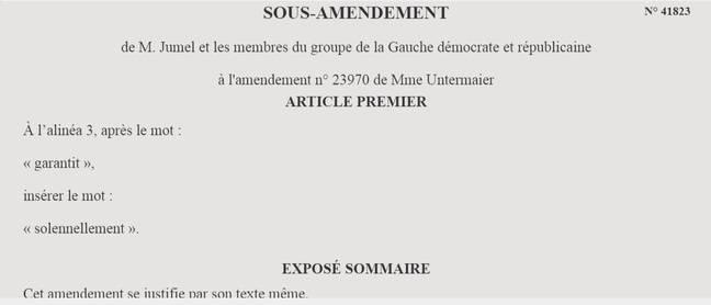 Un sous-amendement au projet de loi sur les retraites.