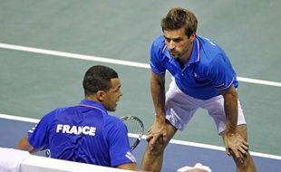 Arnaud Clément et Jo-Wilfried Tsonga lors de la campagne 2014 de Coupe Davis.