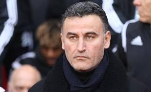 Christophe Galtier lors du match entre Rennes et Saint-Etienne le 18 janvier 2015.