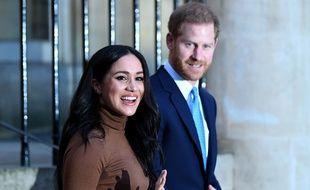 Meghan et Harry en visite à la Maison du Canada, à Londres, le 7 janvier 2020.