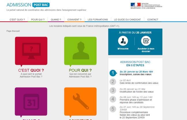 Capture d'écran du site APB, qui permet aux élèves de terminale de choisir leurs futures études.