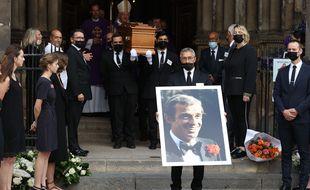 Funérailles de Jean-Paul Belmondo à l'église de Saint-Germain des Près, à Paris, le 10 septembre 2001.