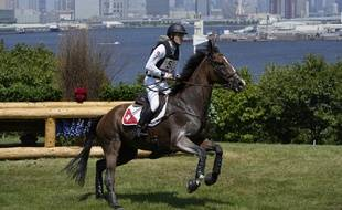 Le Suisse Robin Godel, sur son cheval Jet Set, lors de la compétition de Cross Country des JO le 1er août 2021, à Tokyo, Japan. (AP Photo/Alessandra Tarantino)