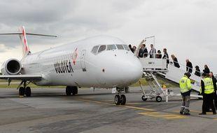 Un avion de la compagnie Volotea, à Nantes.