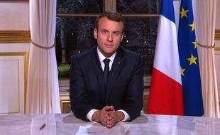 Emmanuel Macron le 31 décembre 2017 lors de son allocution télévisée de présentation de vœux aux Français.