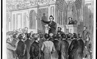 Croquis du procès du président américain Andrew Johnson, en 1868.