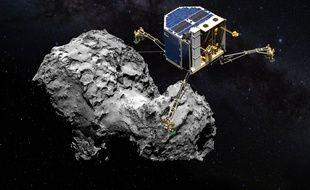 Philae en approche avant son atterrissage sur la comète.