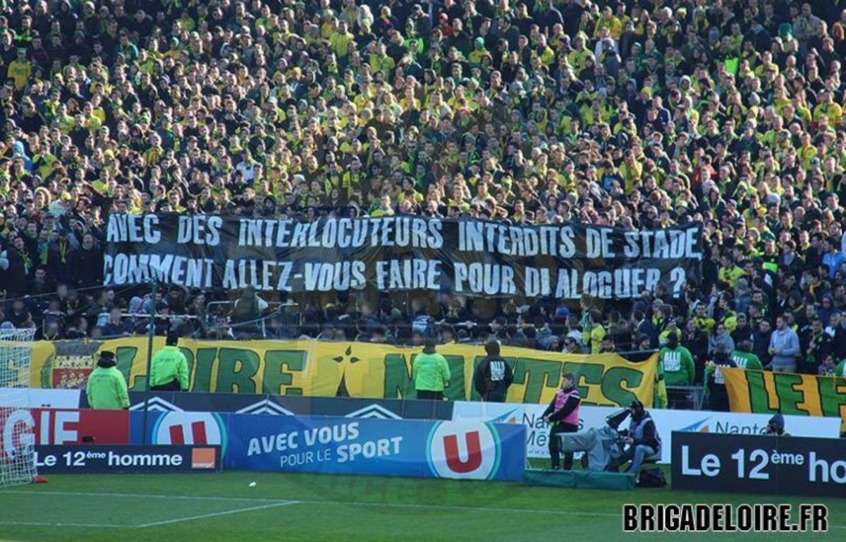 Une des banderoles déployées par la Brigade Loire lors du match entre Nantes et Monaco, le 28 février 2016. – Brigade Loire