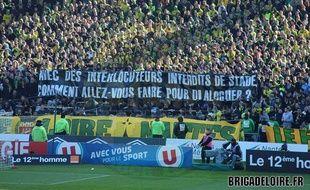 Une des banderoles déployées par la Brigade Loire lors du match entre Nantes et Monaco, le 28 février 2016.