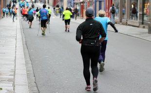 Illustration d'une course à pied, ici lors du Marathon Vert 2016 à Rennes.