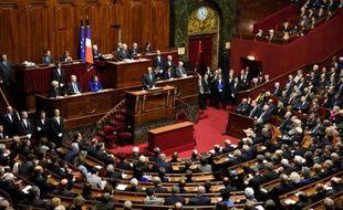 Le président François Hollande devant le Parlement réuni en Congrès, le 16 novembre 2015
