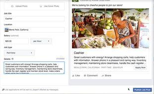 Facebook se lance dans l'offre d'emploi