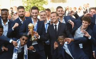 2018 World Cup final, arrival of the French football team at the Elysee Palace where President Macron and his wife are receiving them, Paris, France, 16/07/2018