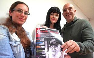 Cynthia Sébastia Paladini, Tania Jakic et Michel Adragna, trois des quatre fondateurs du magazine de rue Sans Abri 06, avec Tatiana Sikic (absente sur la photo)