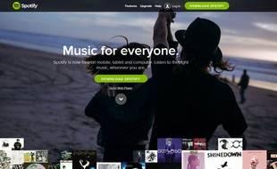 Capture d'écran du site de Spotify