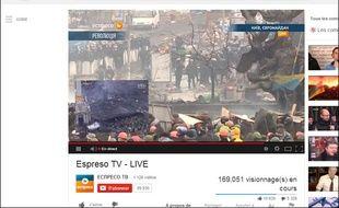 Un livestream sur YouTube permettant de suivre les affrontements à Kiev en Ukraine, le 19 février 2014.