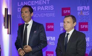 Patrick Drahi et Alain Weill lors du lancement de BFM Paris le 8 novembre 2016