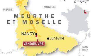 Carte de localisation de Vandoeuvre, en Meurthe-et-Moselle où un enseignant s'est suicidé en salle des professeurs.