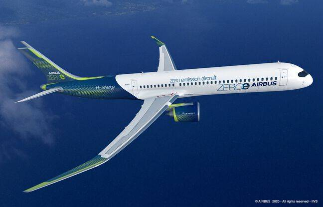 Le turboréacteur à hydrogène imaginé par Airbus. Il pourrait transporter 120 à 200 passagers.