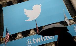 Le logo Twitter sur la bourse de New-York.